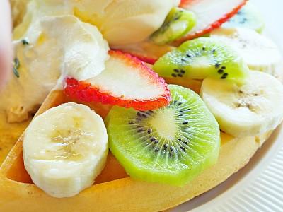 冰淇淋,浆果,比利时华夫饼干,热,泰国,蓝莓,糖果,甜点心,堆,自制的