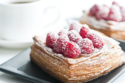 咖啡杯,覆盆子,丹麦币,清新,面包,食品,牛角面包,浆果,法式甜馅饼,甜点心
