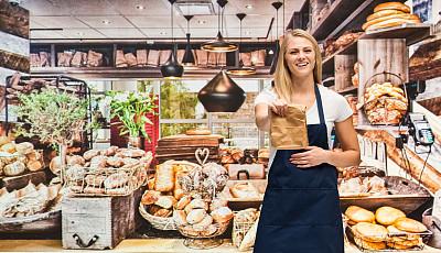 半身像,烘焙师,女性,商店,成年的,食品,一个人,围裙,青年女人,餐馆