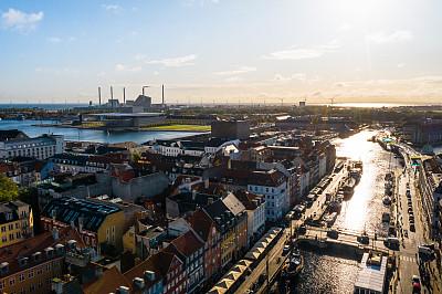 运河,哥本哈根新港,哥本哈根,在上面,丹麦,街道,航拍视角,摄像机拍摄角度,名声,射击