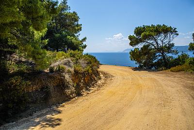 黄色,灰尘,路,热,希腊,云,草,植物,地中海,爱琴海群岛