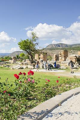 土耳其,远古的,棉花堡,希拉波利斯,桨叉架船,园林,城市,池塘,克丽奥佩特拉,草坪