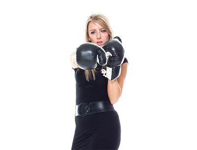 拳头,半身像,商务人士,拳击,女商人,女性,成年的,长发,正装,认真的