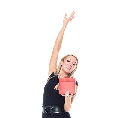 一个人,青年女人,舞蹈,20到29岁,金色头发,欢乐,连衣裙,半身像,商务人士,女商人