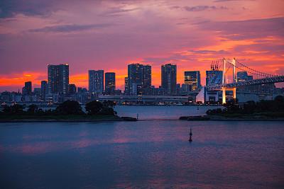 城市天际线,东京,台场,病房,在活动中,热,云景,曙暮光,云,黄昏