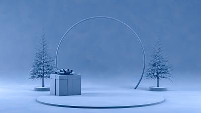 空的,三维图形,蓝色背景,商品,概念,车站月台,寒冷,贺卡,几何形状
