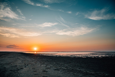 Beautiful?orange sunset over beach in Camargue National Park, Provence, France