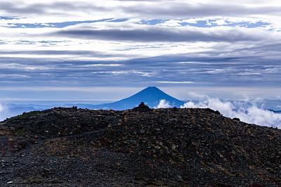 富士山,日本,山梨县,山,看,南,阿尔卑斯山脉,云景,自然界的状态,环境