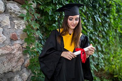 青年女人,文凭,学生,鸭舌帽,特写,概念,女孩,自然美,毕业,庆祝