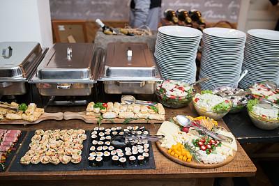 奶酪,海产,自助餐,寿司,早餐,意大利腊肠,菜单,事件,华贵,熟的