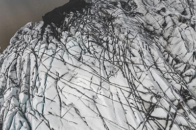 冰河,航拍视角,史卡法特,瓦特纳冰原,无人机,冰隙,北,欧洲,自然,地球