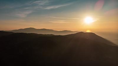 山,航拍视角,土耳其,云景,曙暮光,云,黄昏,户外,晴朗,山脉