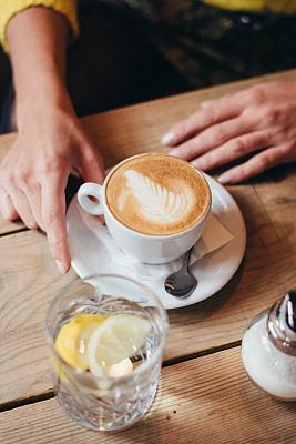女人,咖啡馆,可爱的,股票,咖啡杯,杯,技术,拿着,少女,幸福