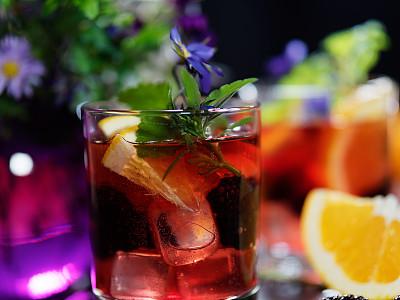 橙子,黑刺莓,潘契酒,饮料,寒冷,含酒精饮料,苏打,清新,玻璃杯,果汁