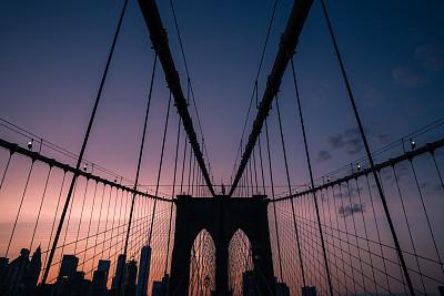 布鲁克林桥,建筑结构,国际著名景点,纽约,粉色,图像,美国,无人,旅游目的地,吊桥