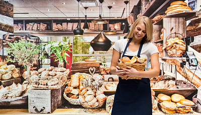 半身像,幸福,烘焙师,女性,商店,成年的,一个人,青年女人,餐馆,20到29岁