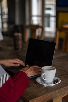 咖啡,饮料,使用电脑,男人,热,电子邮件,土耳其,咖啡杯,杯,舒服