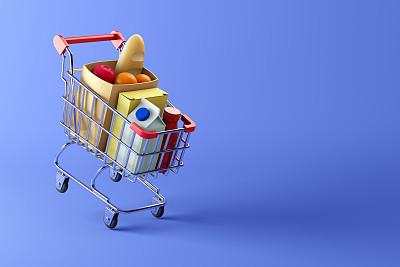 购物车,蓝色背景,食品,充满的,法式长棍面包,篮子,一个物体,彩色背景,牛奶,面包
