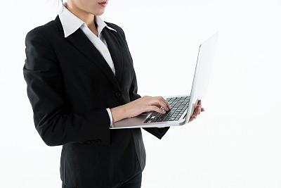 拿着,白色背景,女商人,笔记本电脑,横截面,电子邮件,专业人员,背景分离,技术,现代