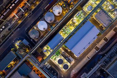 化工厂,都市风景,无人机,化学,暗色,燃料罐,照明设备,曙暮光,顶部,技术