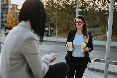 咖啡,商务,专业人员,咖啡杯,杯,技术,现代,商业金融和工业,拿着,户外