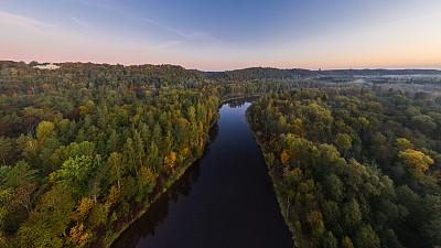 拉脱维亚,河流,几乎,国内著名景点,环境,公园,无人机,植物,背景,夏天