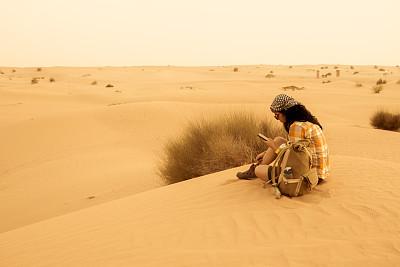 沙漠,亚洲,女人,旅途,热,肖像,波斯湾,摄影师,中国人,户外
