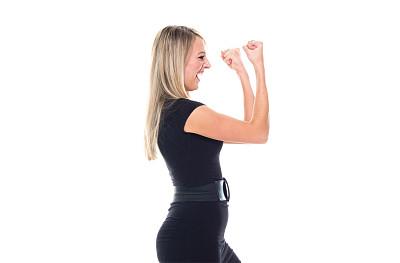 拳头,半身像,商务人士,女商人,女性,成年的,长发,正装,一个人,青年女人