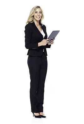 一个人,青年女人,20到29岁,全身像,注视镜头,幸福,商务人士,女商人,套装,女性