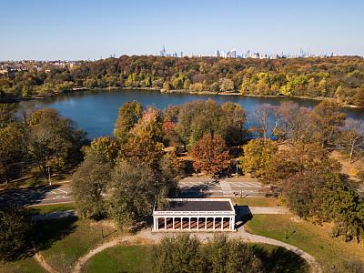 普诺斯佩克特公园,航拍视角,纽约,风,环境,天气,公园,野外骑行道路,湖,背景