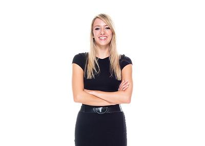 一个人,青年女人,20到29岁,金色头发,连衣裙,半身像,商务人士,女商人,双臂交叉,套装