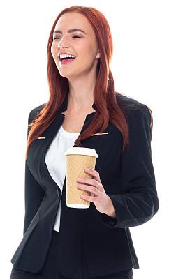 咖啡杯,拿着,半身像,商务人士,女商人,女性,成年的,长发,正装,一个人