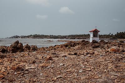 海滩,小礼拜堂,户外,夏天,十字形,石材,图像,水平画幅,无人,印度