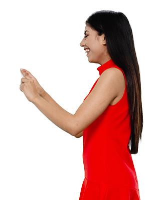 从容态度,拉美人和西班牙裔人,半身像,智能手机,女性,成年的,长发,一个人,青年女人,黑发