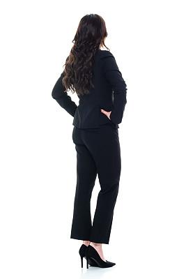 经理,40到44岁,一个人,背面视角,青年女人,过度劳累,棕色头发,全身像,商务人士,女商人