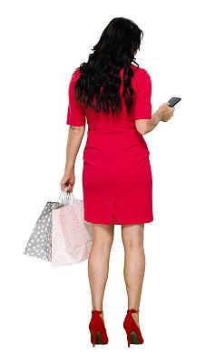 从容态度,拿着,全身像,女性,购物袋,高跟鞋,成年的,长发,购物狂,一个人