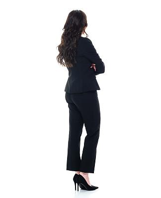 经理,40到44岁,一个人,背面视角,青年女人,棕色头发,全身像,商务人士,女商人,双臂交叉