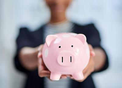 金融,专业人员,部分,现代,存钱罐,小猪扑满,仅女人,仅一个女人,办公室,商务人士