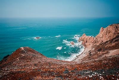 航拍视角,斗篷,石灰石,海浪,自然美,无人机,海岸线,波浪,泻湖,岩石