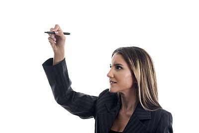 女商人,青年人,毡尖笔,谚语,肖像,铅笔,拿着,想法,仅女人,仅一个女人
