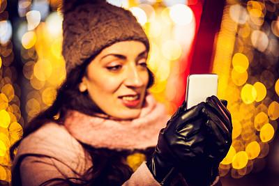 伦敦城,华丽的,华贵,肖像,黄昏,仅女人,仅一个女人,圣诞小彩灯