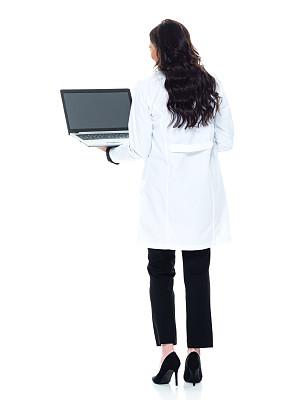 听诊器,40到44岁,一个人,背面视角,青年女人,棕色头发,全身像,套装,女性