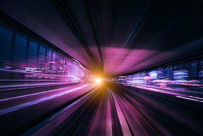 夜晚,背景,未来,尾巴,高速摄影,照明设备,城市,在活动中,旅途,高速列车