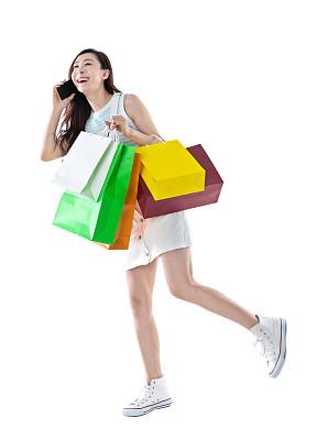 拿着,购物袋,女人,背景分离,肖像,技术,帆布鞋,中国,商业金融和工业,顾客