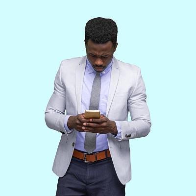 肖像,仅一个男人,非洲人,半身像,短发,商务人士,男商人,男性美,成年的,往下看
