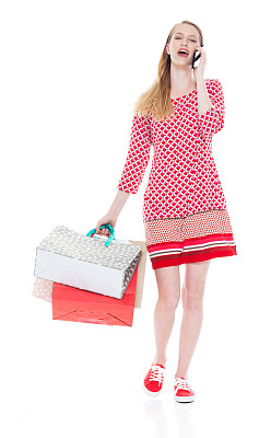 从容态度,全身像,少女,幸福,女性,成年的,购物狂,一个人,青年女人,连衣裙