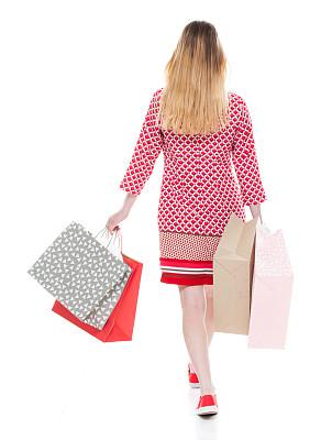 一个人,背面视角,从容态度,青年女人,拿着,全身像,连衣裙,少女,女性,购物袋