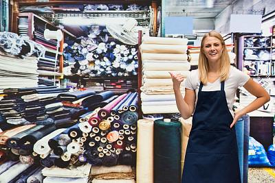 布店,创作行业,半身像,纺织商,女商人,女性,工匠,成年的,销售职位,一个人