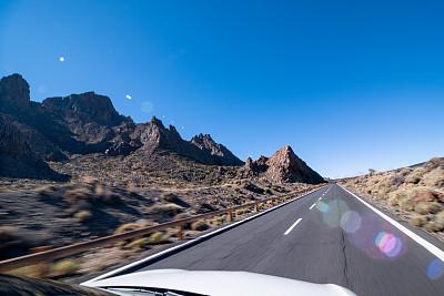 公路,水平画幅,自驾游,乘客视角,萨尔瓦多泰德国家公园,特内里费岛,西班牙,旅馆,特拉华,摄影