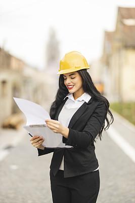 文档,工程师,拿着,专业人员,检查表,策略,技术,蓝图,商务策略,户外